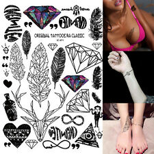 Neuf Tattoo Tatouage Temporaire Autocollant Sticker Diamant Plume Flash Body Art
