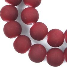"""8mm Matte Frosted Neon Rubberized Glass Round Beads -  Maroon / Amaranth 16"""""""