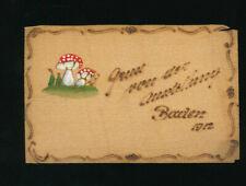 Holzkarte Gruss von der Ausstellung Baden 1912 mit handgemalte Pilze, N.Ö. (O11)