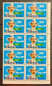 URUGUAY - TRIBUTE TO SANTOS DUMONT 1906 1956 - LOT OF 10 MNH STAMPS