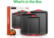 New listing Non-Stick Kitchen Baking Pans w/Heat Red Silicone Handles,Oven Safe- Black