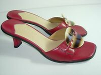 WOMENS RED BROWN LEATHER SLIDES SANDALS CAREER COMFORT HEELS SHOES SIZE 6.5 M