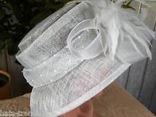 Sombrero Mujer para eventos Festivo Blanco Gorro de Ocasión Ascot BODA hutball