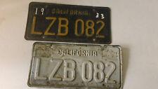 CALIFORNIA  63 BLACK YELLOW LICENSE PLATE   SET (2) LZB 082 DMV CLEAR