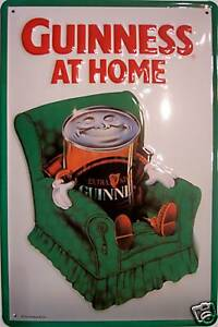Guinness At Home Blechschild Schild Blech Metall Metal Tin Sign 20 x 30 cm
