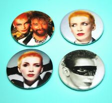 SET OF 4 ANNIE LENNOX THE EURYTHMICS  DAVE STEWART1980S STYLE BUTTON PIN BADGES