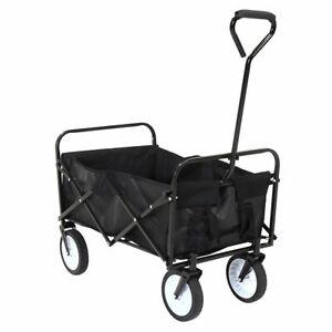 Black Folding Garden Trolley Cart Wagon Pull Along Wheelbarrow Bag Heavy Duty