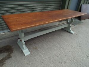 Large Antique Solid Oak Painted Shabby Chic Refectory Dining Table 8ft ref1001