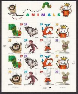 U S Scott # 3987-3994 Childrens Book Animals Complete Sheet VF Used Light Cancel