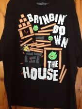 ANGRY BIRDS MEN'S BLACK GRAPHIC TEE SIZE 2XL 100% COTTON SHORT SLEEVE