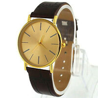 Classic Golden Men's Big Dial Leather Band Watch Quartz Wrist Watches Gift #