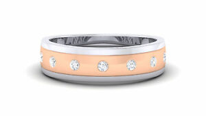 Gorgeous 0.25 Cts Natural Diamonds Unisex Band Ring In Solid 18K Multi-Tone Gold