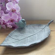 Bird On Leaf Decorative Trinket Plate Jewellery Vintage Style Grey Aqua Dish
