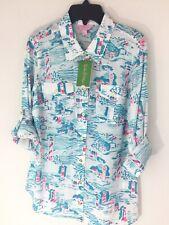 Lilly Pulitzer Women's Sz 6 Cruiser Shirt $118 Resort White Blue 100% Cotton New