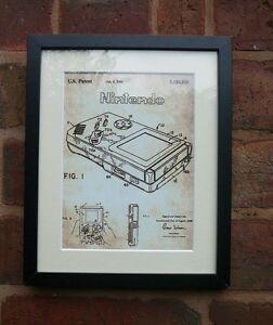 USA Patent vintage print NINTENDO GAME BOY computer game MOUNTED PRINT 1993 Xmas