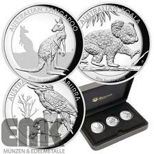 Australien - 3 x 1 Dollar 2016 - Kookaburra, Kangaroo + Koala- 3 x 1oz Silber PP