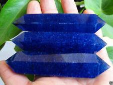 1pcs Pretty blue Smelt Quartz Crystal Double Terminated Wand Healing