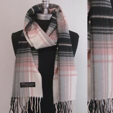 New 100% CASHMERE SCARF MADE IN SCOTLAND PLAID Check Black/Pink/gray/cream SOFT