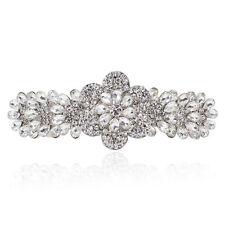 Clear Holy White Crystal Rhinestone Plum Flower Barrette Hair Clip Bridal Gift
