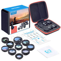 Apexel 10 In 1 Mobile Phone Lens Macro Fisheye Zoom Camera Lens Kit for iPhone