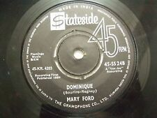 """MARY FORD dominique/where can I go RARE SINGLE 7"""" 45 1964 INDIA INDIAN EX"""
