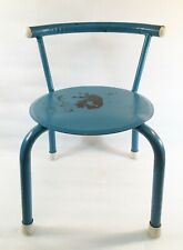 Vintage Industrial Child's Chair Curved Tubular Steel Back and Legs Flat Seat