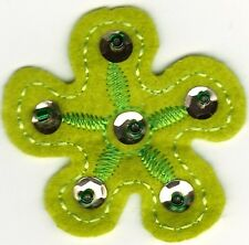 "2"" Green 5 petal Felt flower Embroidery bead sew on patch"