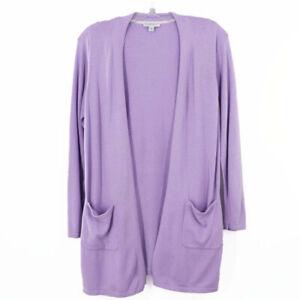 Isaac Mizrahi Lavender Open Cardigan Sweater