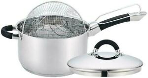 New Quality Stainless Steel Induction Deep Chip Pan Fryer Pot With Lid & Basket