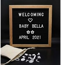 Felt Letter Board Message Sign 10x10 Oak Wood Black Changeable Word Letterboard