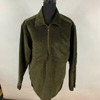 Woolrich Olive Green Solid Cotton Corduroy 1/4 Zip Moleskin Shirt Womens Size M
