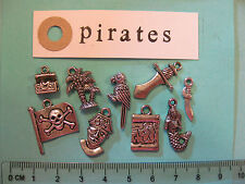 9 tibetan silver charms sur pirates treasure chest parrot carte sirène palmier