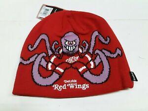 "Detroit Red Wings NHL "" Squid "" Team Knit Beanie Hat"