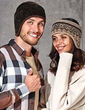 Men's Knitted Headband Fleece Ear band Muff Winter Warmer Fair Isle Mink Beige