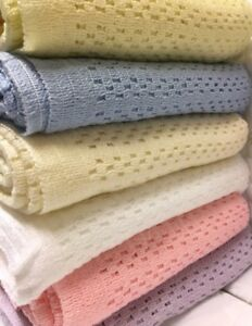 Acrylic Cellular Weave Blanket With Satin Ribbon Trim 6 colours New & Improved