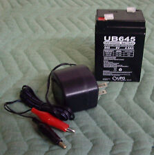 UB645 6V 4.5AH Battery and 6 Volt Charger for Mojo Game Feeder Deer Lighti
