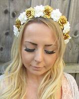 Ivory Cream Gold Rose Flower Garland Headband Hair Crown Floral Festival 1879