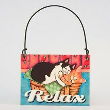 DECO Mini Fun Sign CATS IN LAUNDRY BASKET RELAX LAUNDRY ROOM Fat CATS Ornament