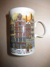 Dunoon brand china mug, Sue Scullard Christmas winter row house design, Scotland