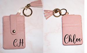 Personalised Beautiful Quality PU Leather Card Holder Keyring ID Custom Gift