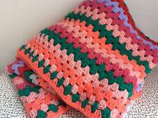 60s 70s Vintage Retro Kitsch Crocheted Wool Granny Blanket Multi Coloured Square