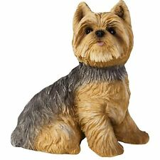 """Sandicast """"Small Size"""" Sitting Yorkshire Terrier Dog Sculpture"""