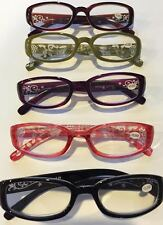 2 PAIR / $6.99 READING GLASSES **SOLID COLORS W/ FLORAL ARMS** - +1.00 - +3.50