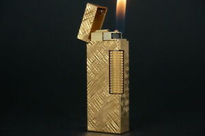 Dunhill Rollagas Lighter  Florentine Gold plated Working #W12