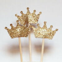 10Pcs Sparkle Glitter Gold Crown Cake Topper Wedding Birthday Party Decoration