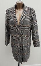 M&S Collection Wrap Jacket Tweed Tartan Check Cream Black Wool Knee Coat Size 14