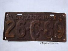 1937 ONTARIO Vintage License Plate # 26-C-89