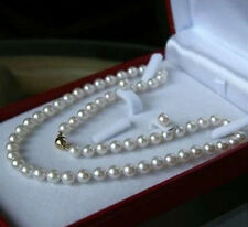 """8mm AAA White South Sea Shell Pearl Necklace Earring Set 18"""" LL001"""