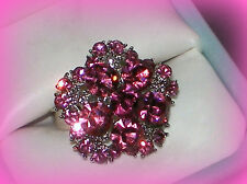 PINK FLOWER RING ADJUSTS SZ 7/8/9~VALENTINES DAY GIFT FOR HER WOMEN MOM FRIEND