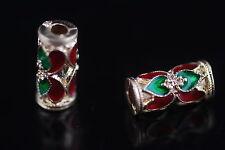 Bulk 10pcs Thai Wind Enamel Metal Beads Spacer Craft Jewelry Findings 12*6mm